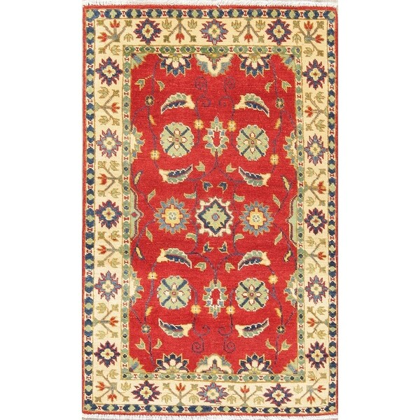 "Traditional Kazak Oriental Hand Knotted Wool Pakistani Area Rug - 4'6"" x 2'9"""
