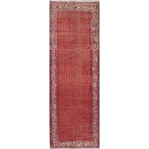 "Vintage Botemir Oriental Hand Knotted Wool Persian Rug - 10'5"" x 3'7"" Runner"