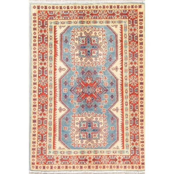 "Kazak Oriental Hand Knotted Wool Traditional Pakistani Area Rug - 4'1"" x 2'9"""
