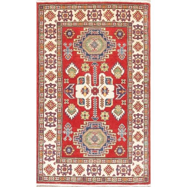 "Kazak Oriental Hand Knotted Wool Traditional Pakistani Area Rug - 4'3"" x 2'8"""