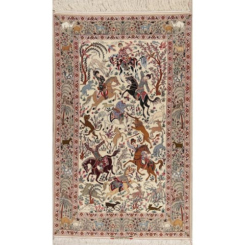 """Isfahan Novelty Hand Knotted Wool & Silk Persian Oriental Area Rug - 8'5"""" x 5'2"""""""