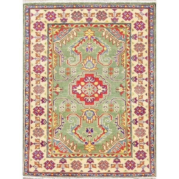 "Traditional Kazak Oriental Hand Knotted Wool Pakistani Area Rug - 4'0"" x 2'9"""