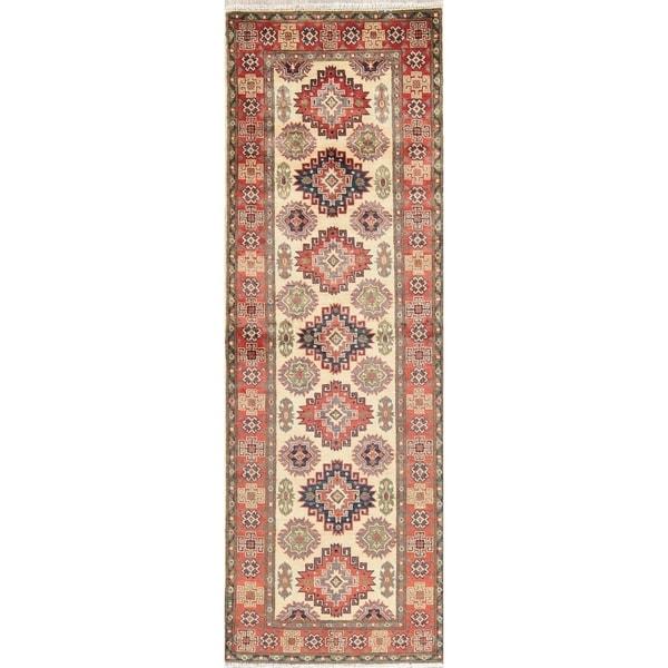 "Kazak Oriental Hand Knotted Wool Pakistani Traditional Rug - 7'9"" x 2'7"" Runner"