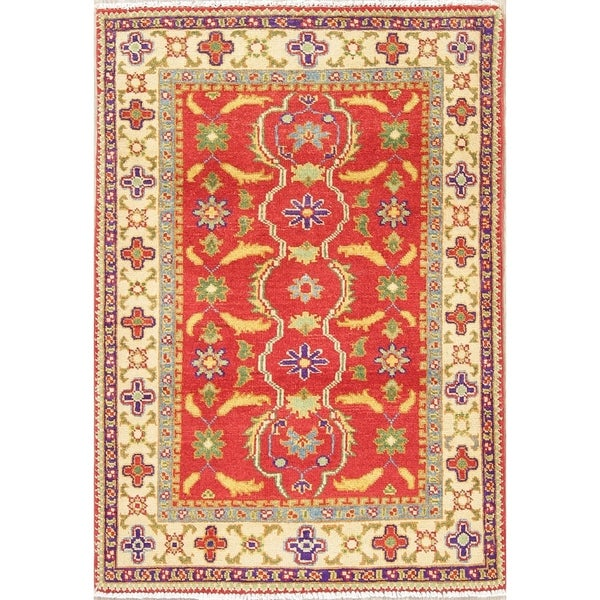 "Kazak Oriental Hand Knotted Wool Traditional Pakistani Area Rug - 4'0"" x 2'10"""
