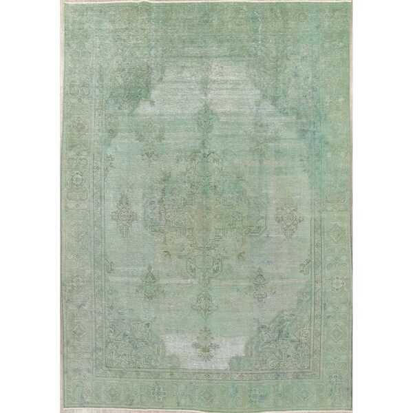 "Vintage Distressed Tabriz Medallion Handmade Persian Over-Dye Area Rug - 11'1"" x 7'8"""
