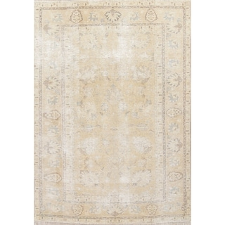 "Antique Muted Distressed Tabriz Oriental Hand Knotted Persian Area Rug - 8'10"" x 6'0"""