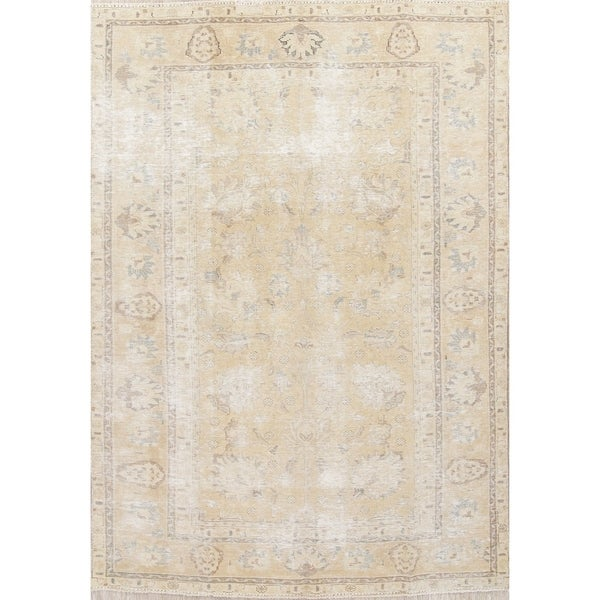 """Antique Muted Distressed Tabriz Oriental Hand Knotted Persian Area Rug - 8'10"""" x 6'0"""""""