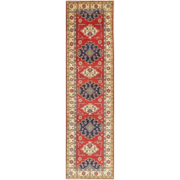 "Traditional Kazak Oriental Hand Knotted Wool Pakistani Rug - 10'1"" x 2'8"" Runner"