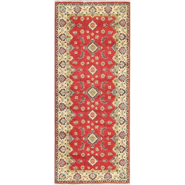 "Kazak Oriental Hand Knotted Wool Pakistani Traditional Rug - 6'7"" x 2'8"" Runner"