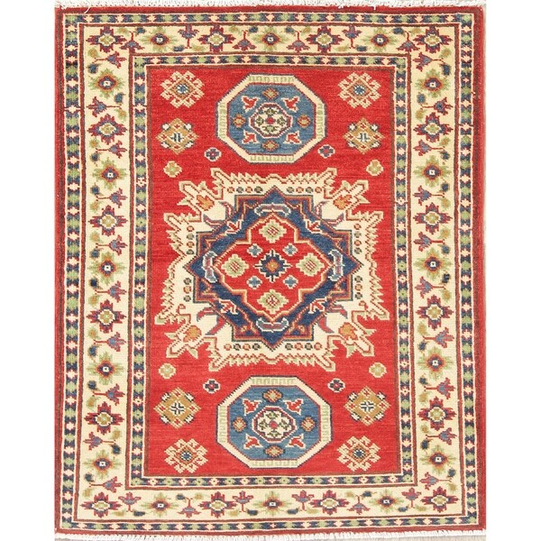 "Traditional Kazak Oriental Hand Knotted Wool Pakistani Area Rug - 3'9"" x 2'8"""