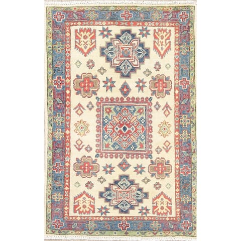 "Kazak Oriental Hand Knotted Wool Traditional Pakistani Area Rug - 4'0"" x 2'8"""