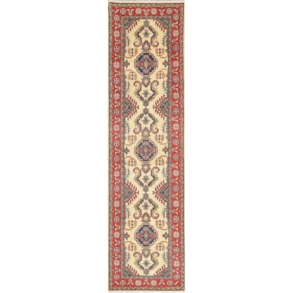"""Traditional Kazak Oriental Hand Knotted Wool Persian Rug - 10'0"""" x 2'8"""" Runner"""