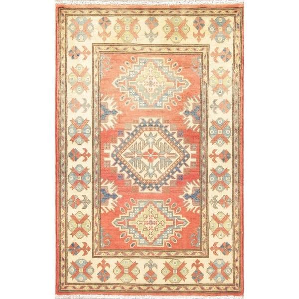 "Kazak Oriental Hand Knotted Wool Pakistani Traditional Area Rug - 4'2"" x 2'8"""