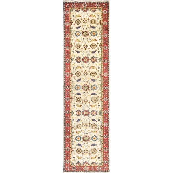 "Kazak Oriental Hand Knotted Wool Pakistani Traditional Rug - 10'2"" x 2'8"" Runner"