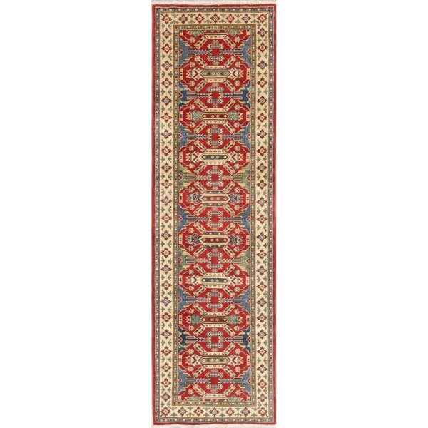 "Kazak Oriental Hand Knotted Wool Pakistani Traditional Rug - 9'2"" x 2'8"" Runner"