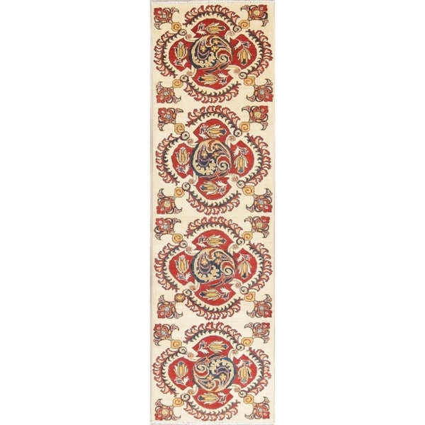 "Kazak Oriental Hand Knotted Wool Pakistani Traditional Rug - 9'6"" x 2'9"" Runner"