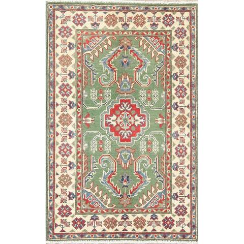 "Kazak Oriental Hand Knotted Wool Traditional Pakistani Area Rug - 4'2"" x 2'9"""