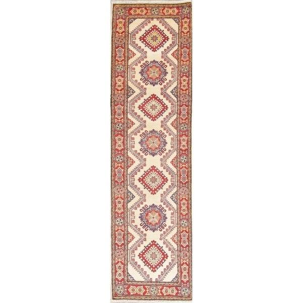 "Traditional Kazak Oriental Hand Knotted Wool Pakistani Rug - 10'0"" x 2'9"" Runner"
