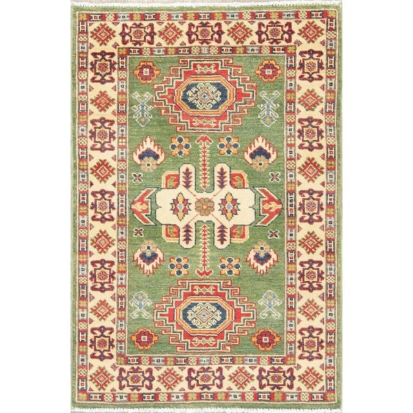 "Kazak Oriental Hand Knotted Wool Traditional Pakistani Area Rug - 4'0"" x 2'9"""