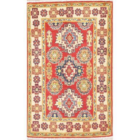 "Traditional Kazak Oriental Hand Knotted Wool Pakistani Area Rug - 4'1"" x 2'7"""