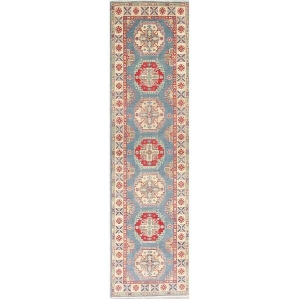 "Kazak Oriental Hand Knotted Wool Pakistani Traditional Rug - 9'11"" x 2'8"" Runner"