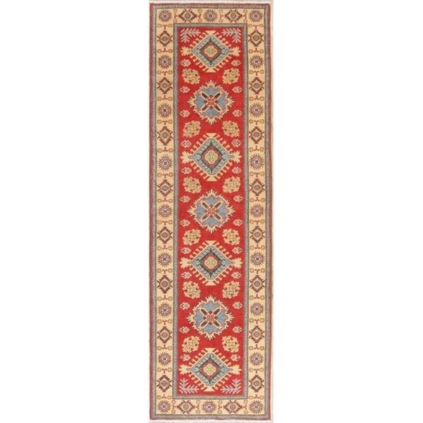 "Traditional Kazak Oriental Hand Knotted Wool Pakistani Rug - 9'6"" x 2'10"" Runner"