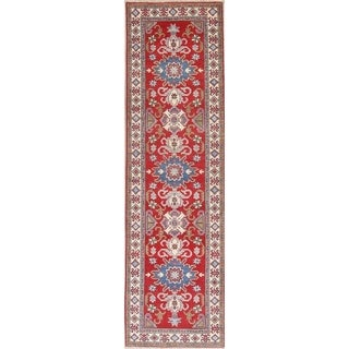 "Kazak Oriental Hand Knotted Wool Pakistani Traditional Rug - 9'7"" x 2'9"" Runner"