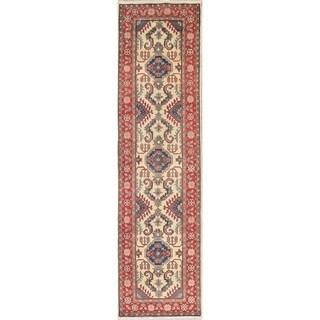 "Traditional Kazak Oriental Hand Knotted Wool Pakistani Rug - 9'10"" x 2'7"" Runner"