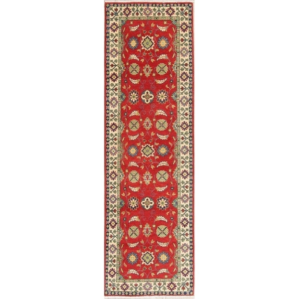 "Traditional Kazak Oriental Hand Knotted Wool Pakistani Rug - 8'0"" x 2'7"" Runner"