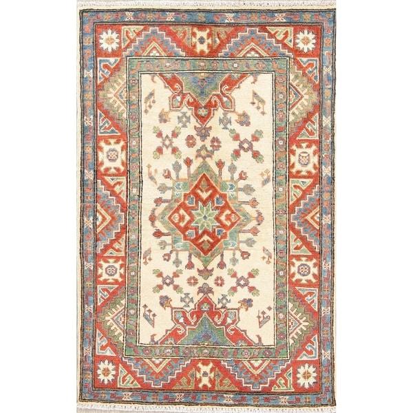 "Kazak Oriental Hand Knotted Wool Traditional Pakistani Casual Area Rug - 4'4"" x 2'10"""