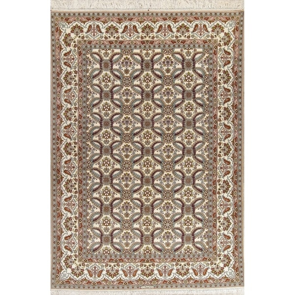 "Isfahan Oriental Hand Knotted Wool & Silk Persian Area Rug - 12'1"" x 8'0"""