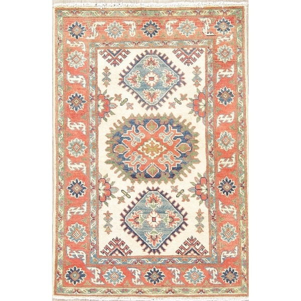 "Kazak Oriental Hand Knotted Wool Traditional Pakistani Casual Area Rug - 4'1"" x 2'8"""