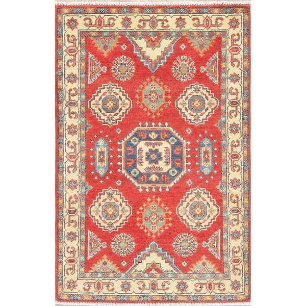"Traditional Kazak Oriental Hand Knotted Wool Pakistani Area Rug - 4'2"" x 2'8"""