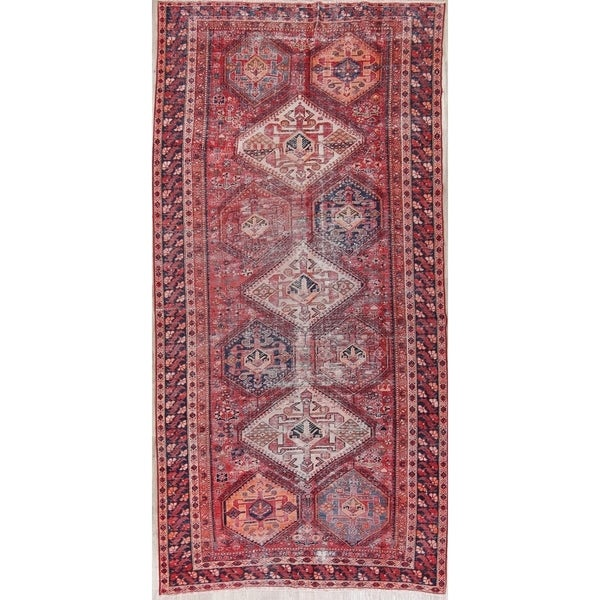 """Antique Distressed Bakhtiari Diamond Hand Knotted Persian Area Rug - 12'10"""" x 6'4"""""""