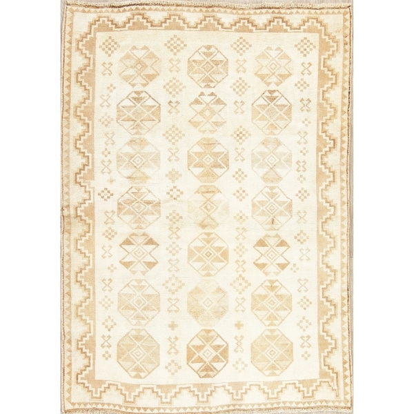 "Muted Distressed Gabbeh Oriental Hand Knotted Wool Persian Area Rug - 6'1"" x 4'4"""