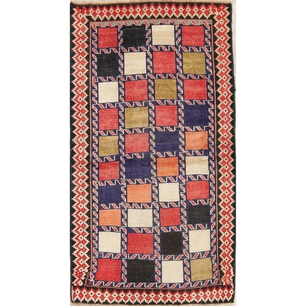 """Antique Gabbeh Checkered Oriental Hand Knotted Wool Persian Rug - 7'8"""" x 4'2"""" Runner"""
