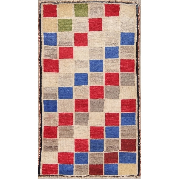 """Gabbeh Checkered Oriental Hand Knotted Wool Persian Area Rug - 4'2"""" x 2'5"""""""