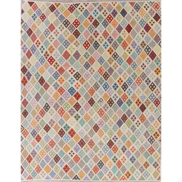 "Modern Kilim Oriental Handmade Wool Turkish Area Rug - 11'3"" x 8'11"""