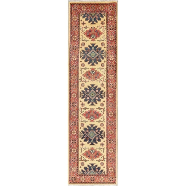 """Traditional Kazak Oriental Hand Knotted Wool Pakistani Casual Rug - 9'11"""" x 2'8"""" Runner"""