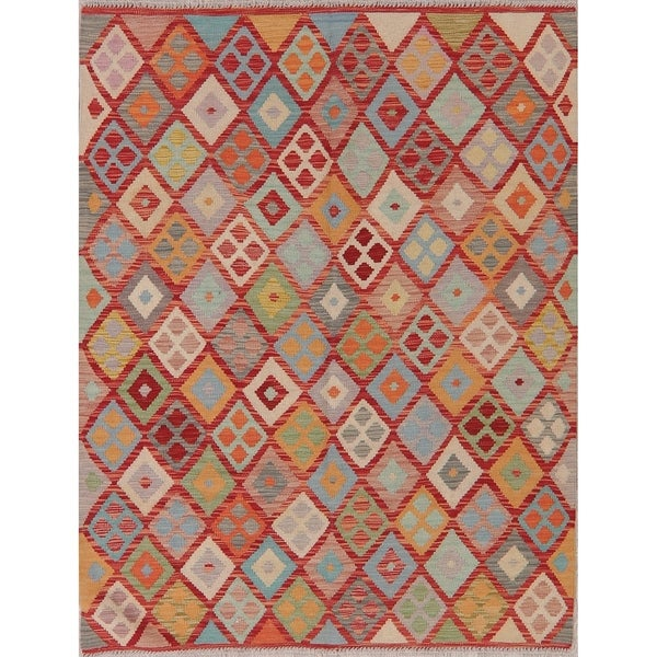 "Modern Kilim Oriental Handmade Wool Turkish Area Rug - 6'6"" x 5'1"""