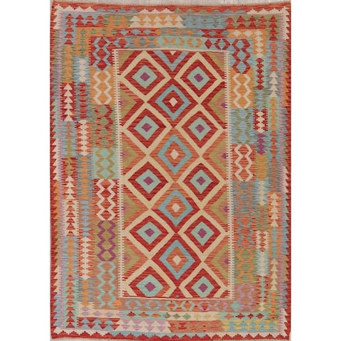"Modern Kilim Oriental Flatweave Wool Turkish Area Rug - 7'10"" x 5'8"""