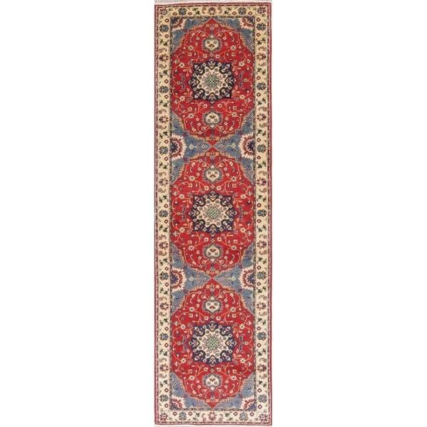"Kazak Oriental Hand Knotted Wool Pakistani Traditional Rug - 10'0"" x 2'8"" Runner"