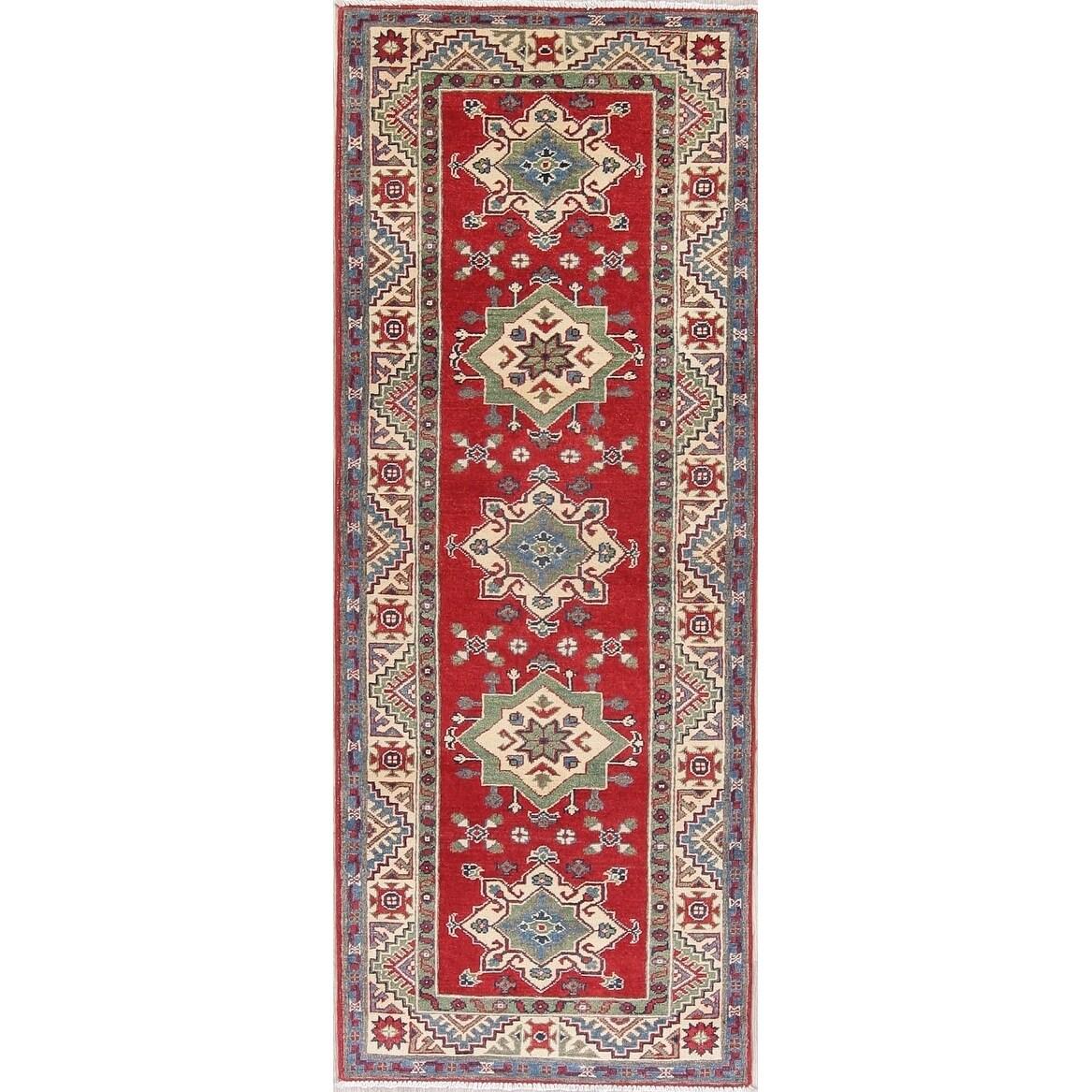 Kazak Oriental Hand Knotted Wool Stani Traditional Rug 7 4 X 2 10 Runner