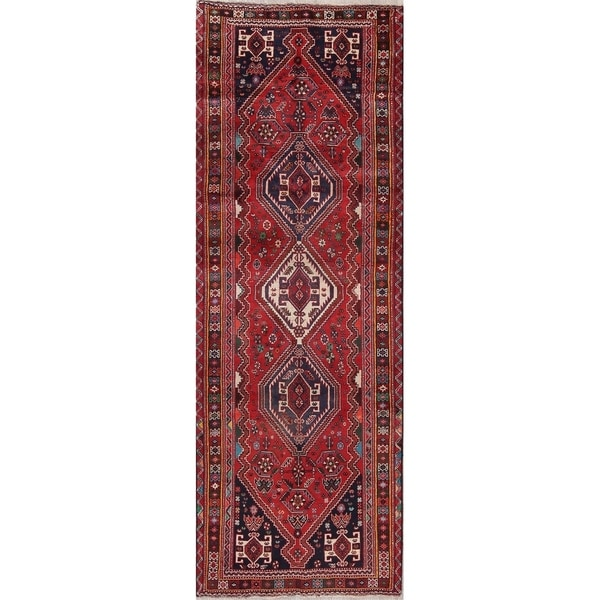 """Vintage Abadeh Oriental Hand Knotted Wool Persian Rug - 9'7"""" x 3'6"""" Runner"""