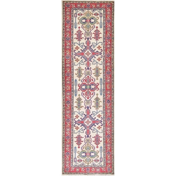 "Kazak Oriental Hand Knotted Wool Pakistani Traditional Rug - 9'7"" x 2'11"" Runner"