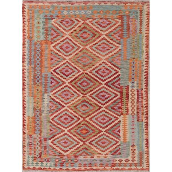 "Modern Kilim Oriental Handmade Wool Turkish Area Rug - 7'9"" x 5'9"""