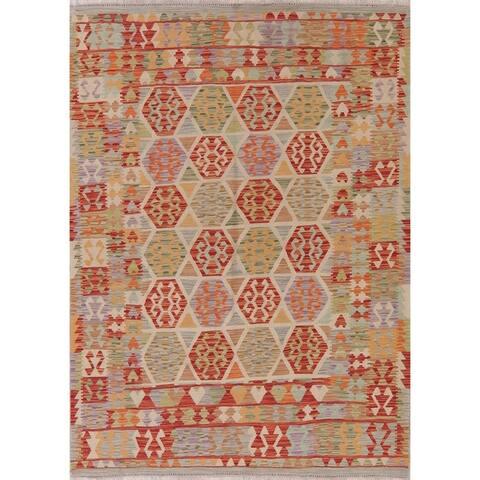 "Modern Kilim Oriental Handmade Wool Turkish Area Rug - 7'10"" x 5'9"""