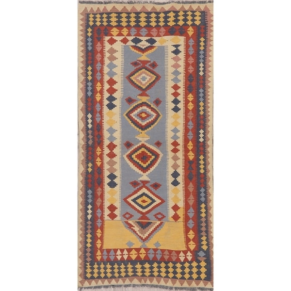 "Modern Kilim Oriental Handmade Wool Turkish Rug - 7'5"" x 3'4"" Runner. Opens flyout."