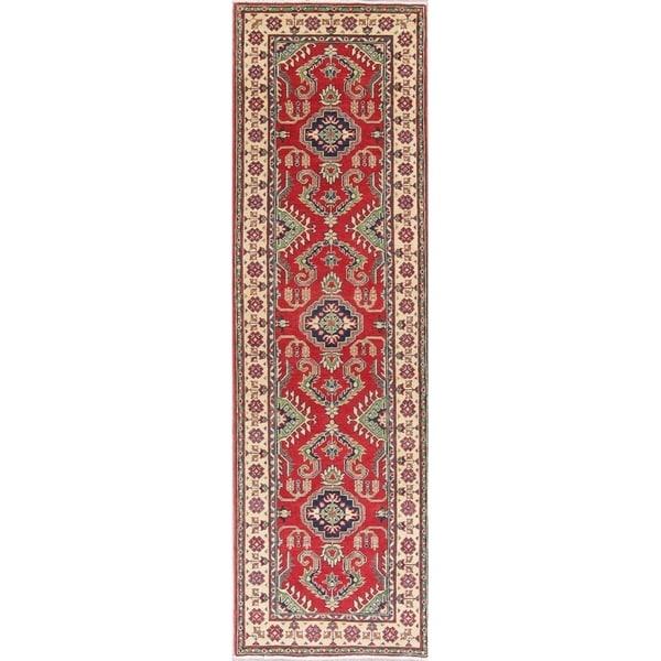 "Kazak Oriental Hand Knotted Wool Pakistani Traditional Rug - 9'4"" x 2'9"" Runner"
