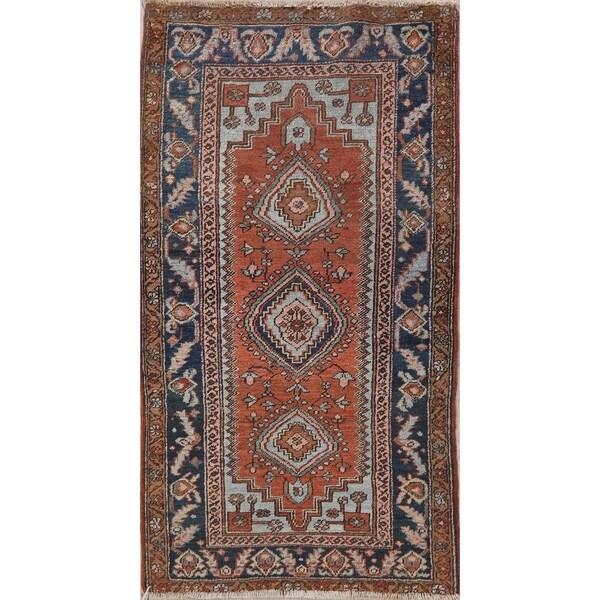 "Antique Heriz (serapi) Tribal Oriental Hand Knotted Wool Persian Rug - 6'7"" x 3'0"" Runner"